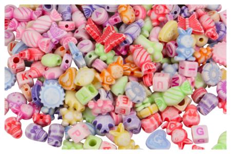 Perles enfantines en plastique - Set de 250 - Perles en plastique – 10doigts.fr