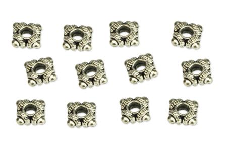 Perles intercalaires argentées - 12 pièces - Perles Lithothérapie – 10doigts.fr