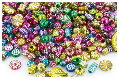 """Perles métallisées """"Mardi Gras"""" en plastique, formes et couleurs assorties - Set de 300 - Perles en plastique – 10doigts.fr"""