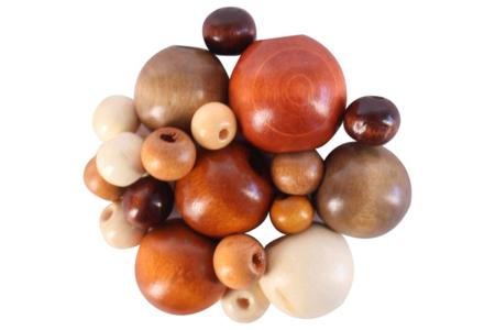 Perles rondes en bois verni - 50 perles - Perles en bois – 10doigts.fr