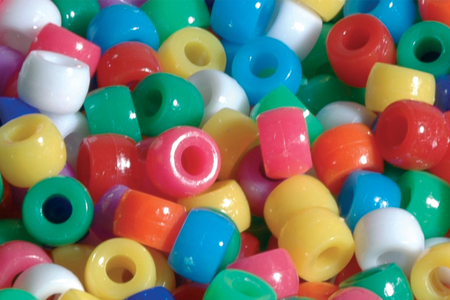 Perles opaques rondes à gros trou - 160 perles - Perles en plastique – 10doigts.fr