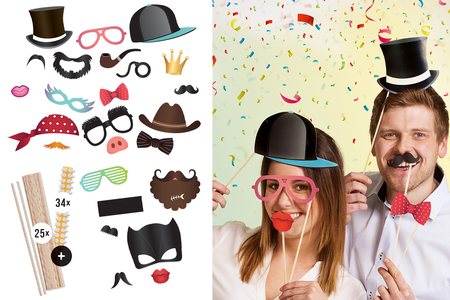 Kit photobooth - 25 éléments - Mardi gras, carnaval – 10doigts.fr