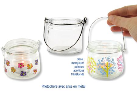 Photophore en verre avec anse en métal - Bougeoirs, photophores – 10doigts.fr