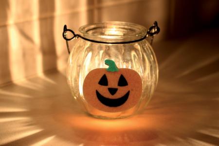 Photophore citrouille en verre - Halloween – 10doigts.fr
