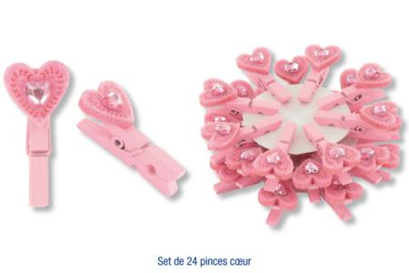 Set de 24 pinces à linge avec coeur en feutrine + strass coeur - Pinces à linge fantaisie – 10doigts.fr