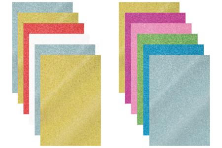 Plaques de caoutchouc souple pailleté adhésif - Set de 6 - Caoutchouc souple auto-adhésif – 10doigts.fr
