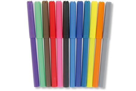 Feutres pointes moyennes - 12 couleurs - Feutres fins – 10doigts.fr