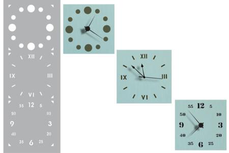 Pochoir horloge - Set de 3 motifs - Pochoir frise – 10doigts.fr