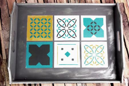 Pochoir carreaux de ciment - Set de 4 motifs - Pochoir frise – 10doigts.fr
