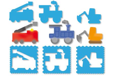 Pochoirs VÉHICULES 3 en 1 - Set de 9 - Pochoir Transports et Métiers – 10doigts.fr