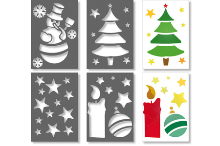 Pochoirs de Noël - Set de 4 - Pochoir fêtes – 10doigts.fr