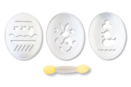 Pochoirs pour oeufs - 3 motifs - Décoration du plastique – 10doigts.fr