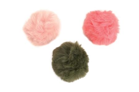 Pompons en fausse fourrure - Set de 3 couleurs - Pompons – 10doigts.fr