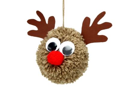 pompon en laine renne de Noël - Tête à Modeler