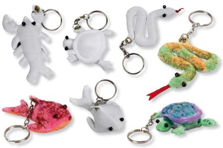 Porte-clefs animaux assortis, en polyester blanc - Set de 4 - Coton, lin – 10doigts.fr