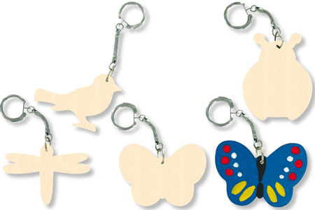 Porte-clefs animaux assortis, en bois naturel - Porte-clefs, gri-gris – 10doigts.fr
