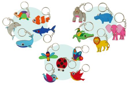 Porte-clés animaux en bois - Set de 5 - Porte-clefs – 10doigts.fr