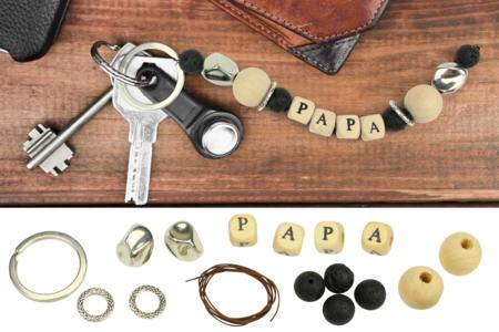 """Porte-clés """"Papa"""" en perles de lave - Kit pour 1 porte-clés - Porte-clefs, Anneaux, Mousquetons – 10doigts.fr"""