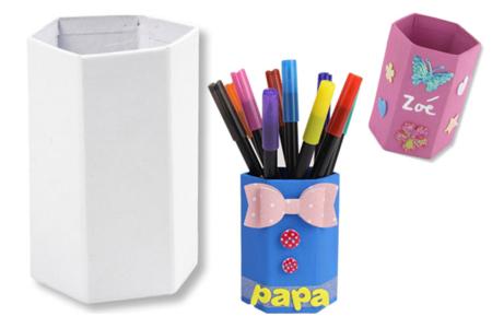 pots crayons h xagonaux en carton fort blanc pots vases paniers sacs 10 doigts. Black Bedroom Furniture Sets. Home Design Ideas