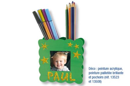 Pot à crayons porte-photo ondulé - Activités enfantines – 10doigts.fr