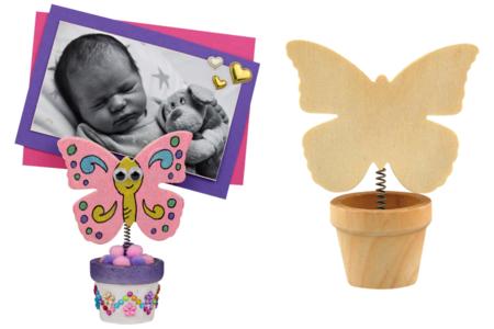 Pot de fleur papillon, avec pince : marque-place, porte-photo ou note - Cadres photos – 10doigts.fr