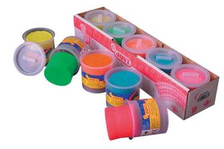 Pâte à modeler fluo (dès 2 ans) - 5 pots de 110 gr - Pâtes à modeler souples 1er âge bébé – 10doigts.fr