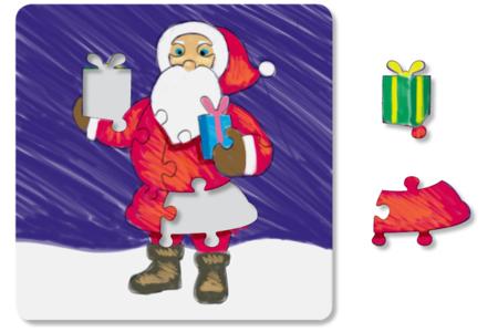 Puzzle 14 pièces à colorier : PERE NOËL - Puzzles à colorier, dessiner ou peindre – 10doigts.fr