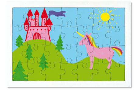 Puzzle 28 pièces en carton blanc à colorier, avec fond - Puzzles à colorier, dessiner ou peindre – 10doigts.fr