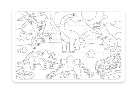 Grand  Puzzle Dinosaures à colorier - Puzzle à colorier, dessiner ou peindre – 10doigts.fr
