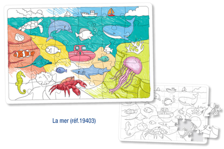 Puzzle à colorier - LA MER - Coloriages – 10doigts.fr