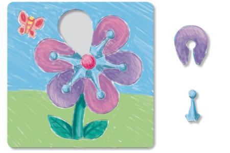 Puzzle en carton blanc à colorier, avec fond : FLEUR - Puzzles à colorier, dessiner ou peindre – 10doigts.fr