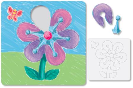 Puzzle Fleur à colorier - Puzzles à colorier, dessiner ou peindre – 10doigts.fr