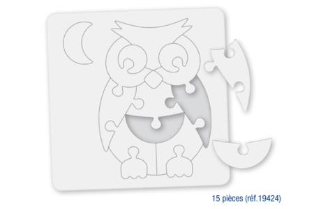 Puzzle en carton blanc à colorier, avec fond : HIBOU - Puzzles à colorier, dessiner ou peindre – 10doigts.fr