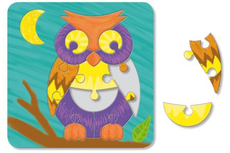 Puzzle Hibou à colorier - Puzzles à colorier, dessiner ou peindre – 10doigts.fr