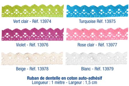 Rubans en dentelle adhésive - 1 m - Rubans et ficelles – 10doigts.fr