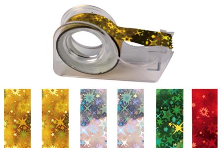 Rubans adhésifs - 6 rouleaux holographiques + dévidoir - Adhésifs – 10doigts.fr