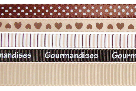 Rubans en camaïeu brun - Set de 5 - Rubans et ficelles – 10doigts.fr