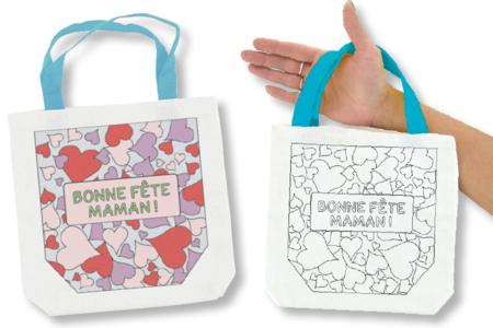 """Sac à colorier """"Bonne Fête Maman"""" - Coloriages – 10doigts.fr"""