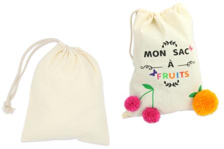 Grand sac coton à cordelette - Coton, lin – 10doigts.fr