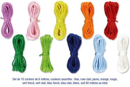 Cordons en satin couleurs vives - 10 cordons de 6 m - Fils en Satin et queue de rat – 10doigts.fr