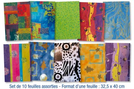 Set de 10 feuilles pour vernis collage, imprimés assortis - 10doigts.fr