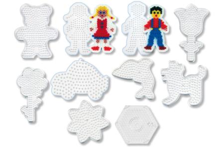 Plaques fantaisie pour perles fusibles et 2 feuilles de papier sulfurisé - Set de 10 - Perles fusibles 5 mm – 10doigts.fr