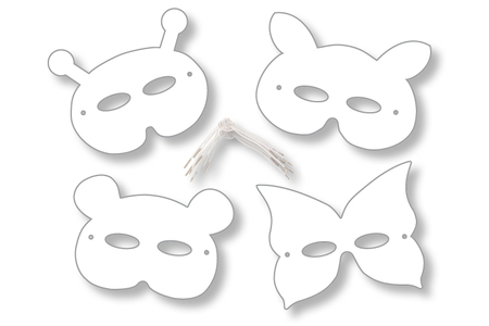 Masques animaux à décorer - Set de 12 - Mardi gras, carnaval – 10doigts.fr