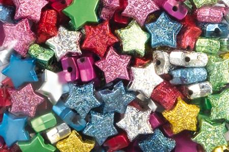 Perles étoiles métallisées et pailletées assorties - 160 perles - Perles en plastique – 10doigts.fr