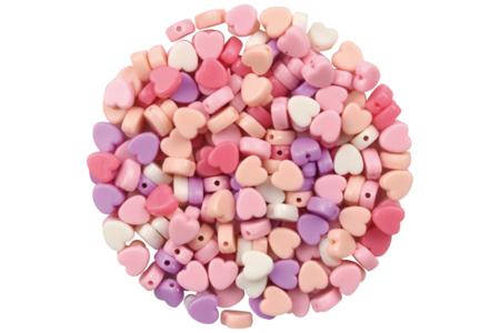 Perles coeurs en camaïeu de rose - 180 perles - Perles acrylique – 10doigts.fr