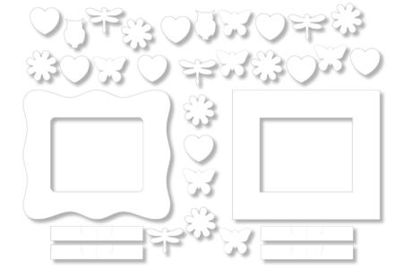 Cadres photo rectangle à colorier + 26 mini-formes à décorer - Set de 8 - Support blanc – 10doigts.fr