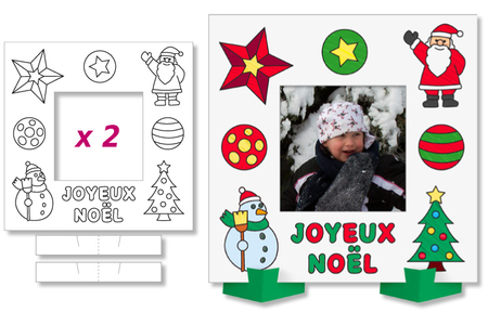 Cadres photo Noël à colorier - Lot de 2 - Support pré-dessiné – 10doigts.fr