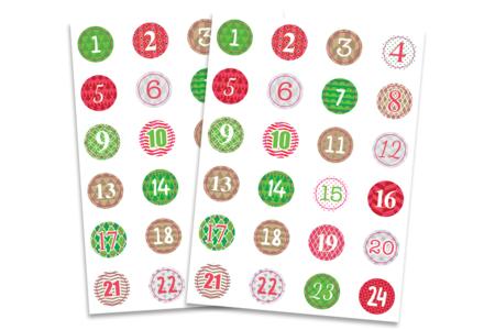 Stickers chiffres calendrier de l'Avent - 2 planches - Calendrier de l'avent – 10doigts.fr
