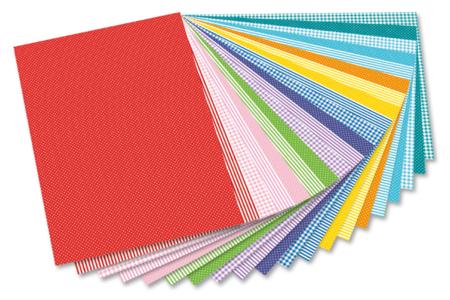 Cartes fortes coloris et motifs basiques assortis - set de 20 - Assortiment papiers divers – 10doigts.fr