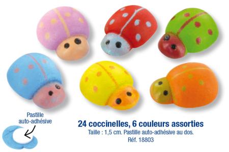 Coccinelles en bois coloré adhésives - 24 pièces - Motifs peint – 10doigts.fr